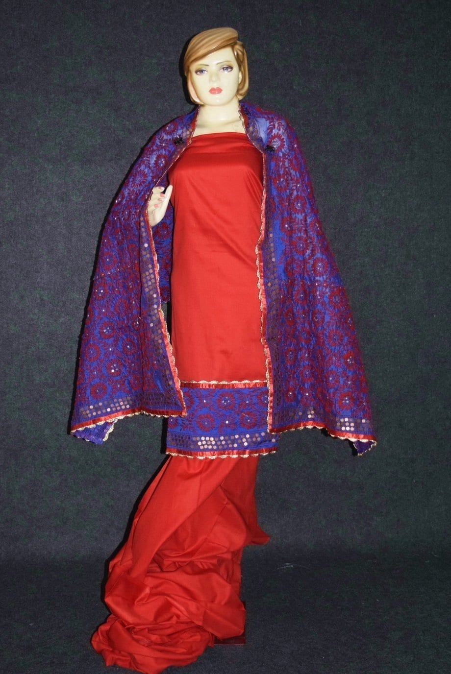 Pure Cotton Hand Embroidered Salwar kameez stole suit set F0655 3