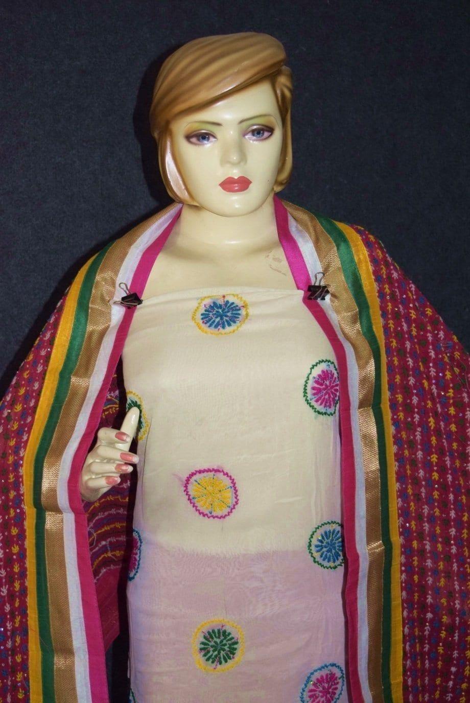 Party Wear Georgette hand Embroidered Salwar kameez stole suit set F0657 2