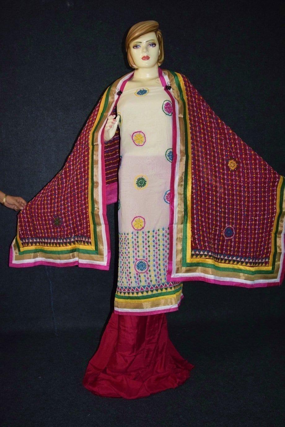 Party Wear Georgette hand Embroidered Salwar kameez stole suit set F0657 3