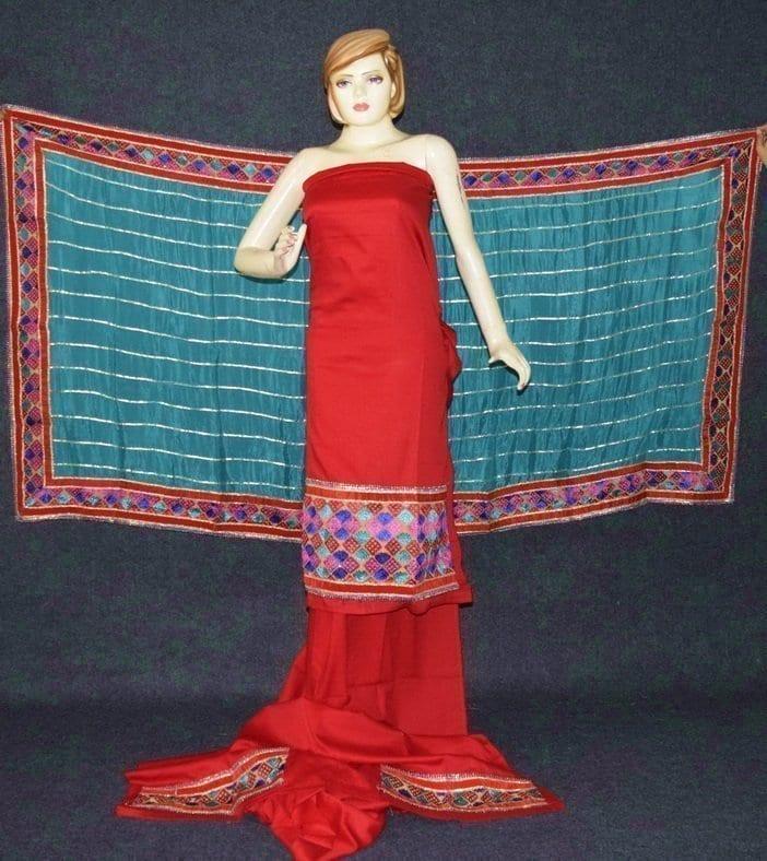 Glazed Cotton Hand Embroidered Salwar kameez suit CHINON DUPATTA set F0658 1