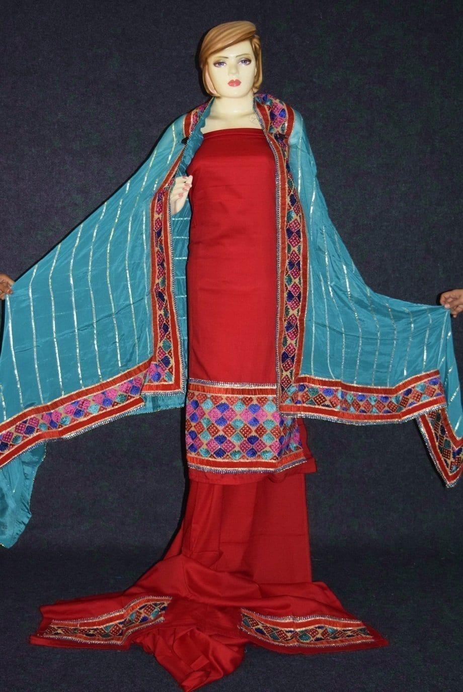 Glazed Cotton Hand Embroidered Salwar kameez suit CHINON DUPATTA set F0658 3