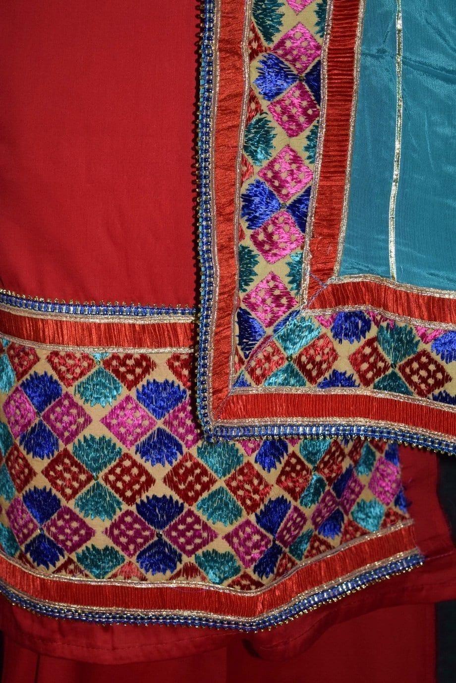 Glazed Cotton Hand Embroidered Salwar kameez suit CHINON DUPATTA set F0658 4