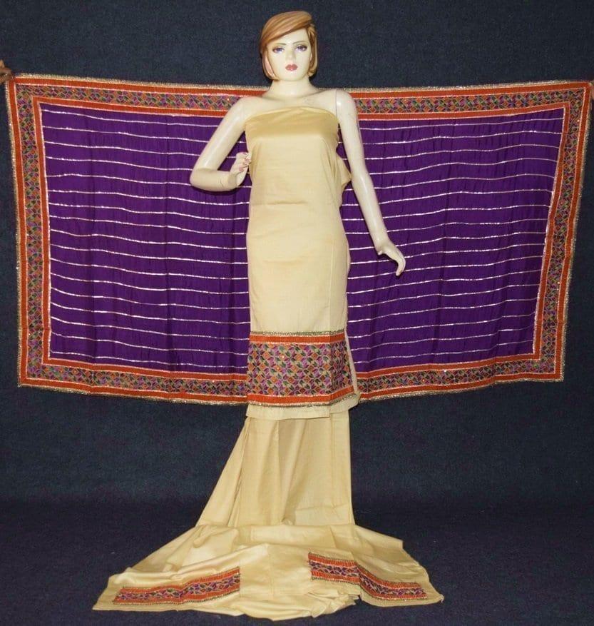 Glazed Cotton Hand Embroidered Salwar kameez suit CHINON DUPATTA set F0659 1