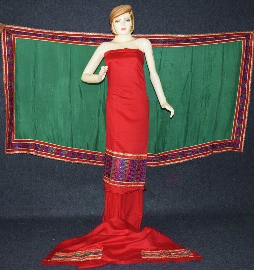 Glazed Cotton Hand Embroidered Salwar kameez suit CHINON DUPATTA set F0661 1