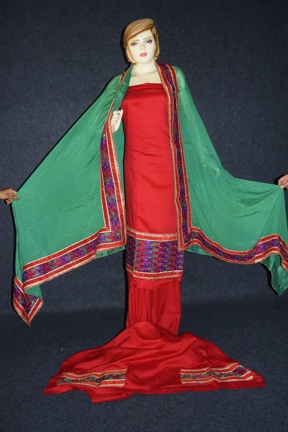 Glazed Cotton Hand Embroidered Salwar kameez suit CHINON DUPATTA set F0661 2