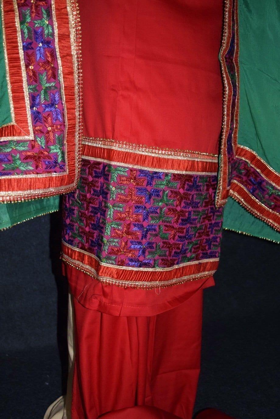 Glazed Cotton Hand Embroidered Salwar kameez suit CHINON DUPATTA set F0661 4