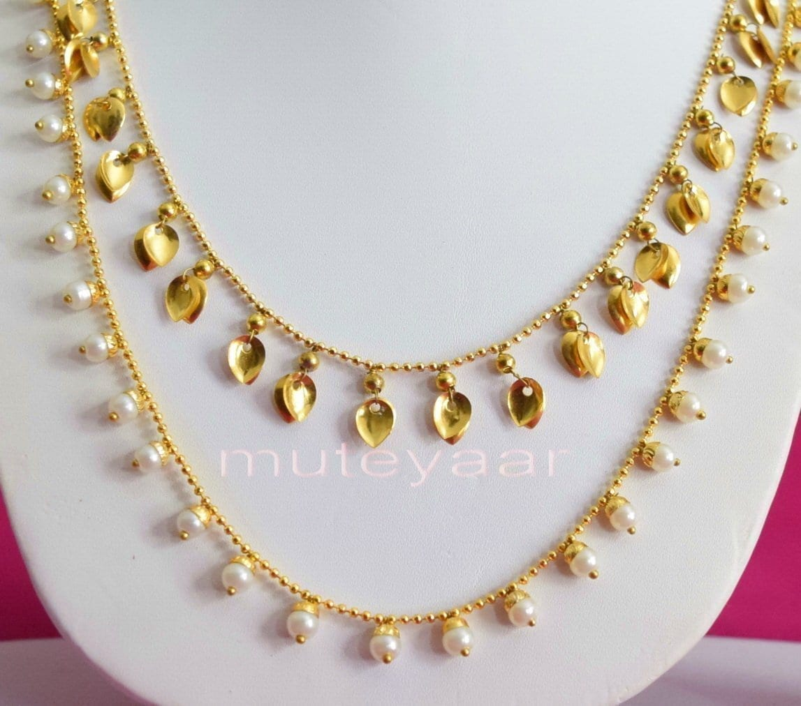 24 Ct. Gold Plated Traditional Punjabi Double Chain Earrings jewellery set J0208 3