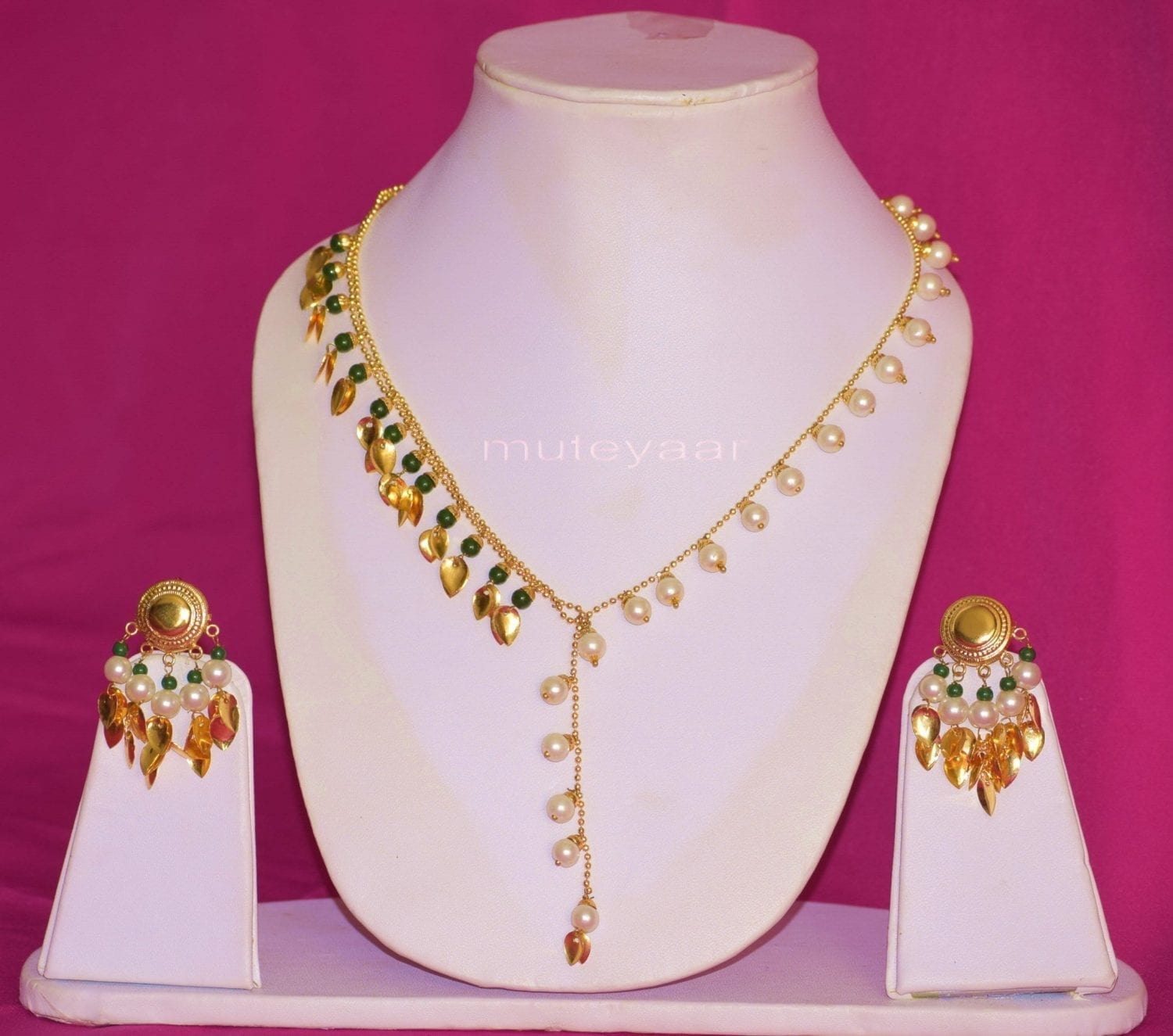 24 Ct. Gold Plated Traditional Punjabi chain set with two colour Moti Beads J0211 4