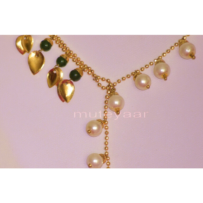 24 Ct. Gold Plated Traditional Punjabi chain set with two colour Moti Beads J0211