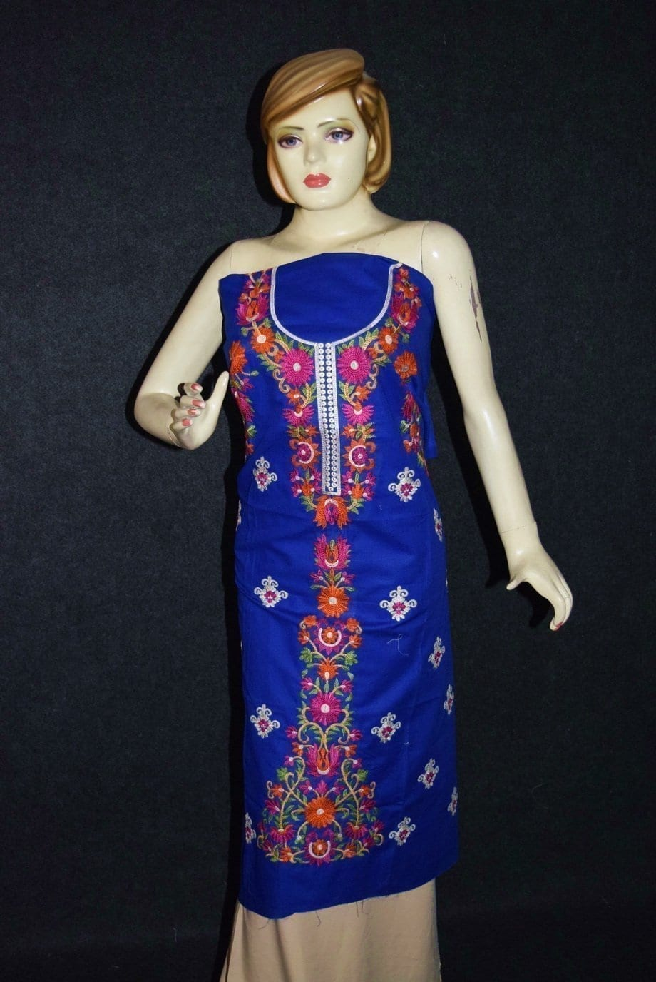 Pure Cotton Unstitched Embroidered Party Wear Kurti / kameez Fabric Cloth K0347 1