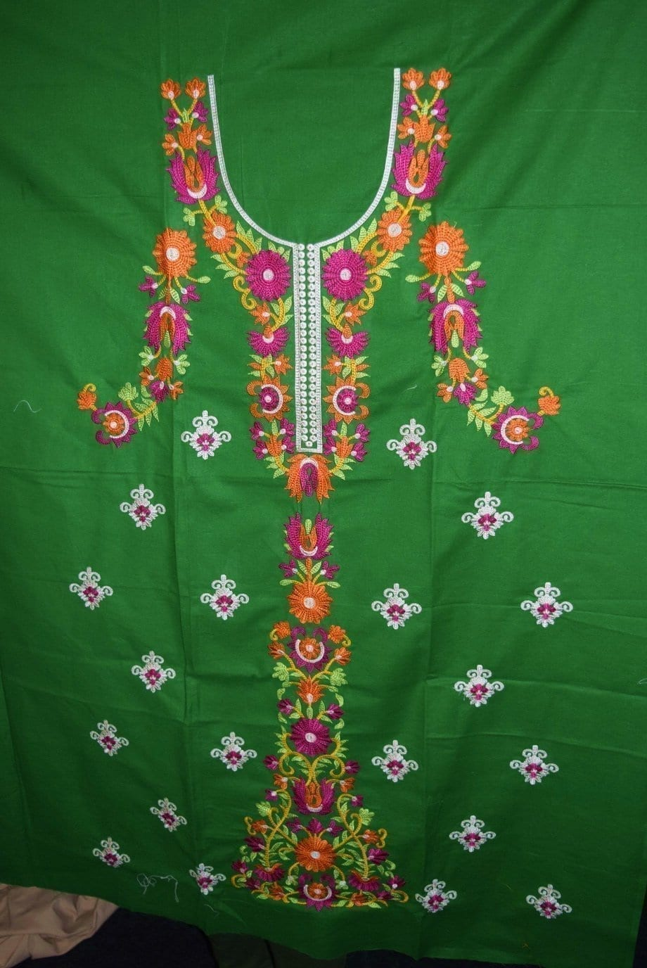 Pure Cotton Unstitched Embroidered Party Wear Kurti / kameez Fabric Cloth K0348 2