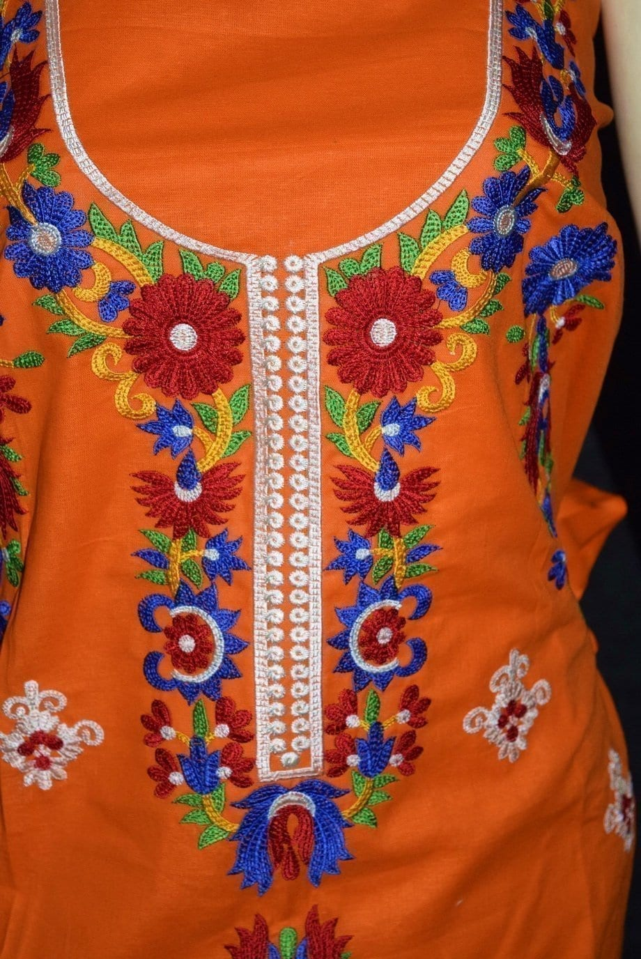Pure Cotton Unstitched Embroidered Party Wear Kurti / kameez Fabric Cloth K0351 2
