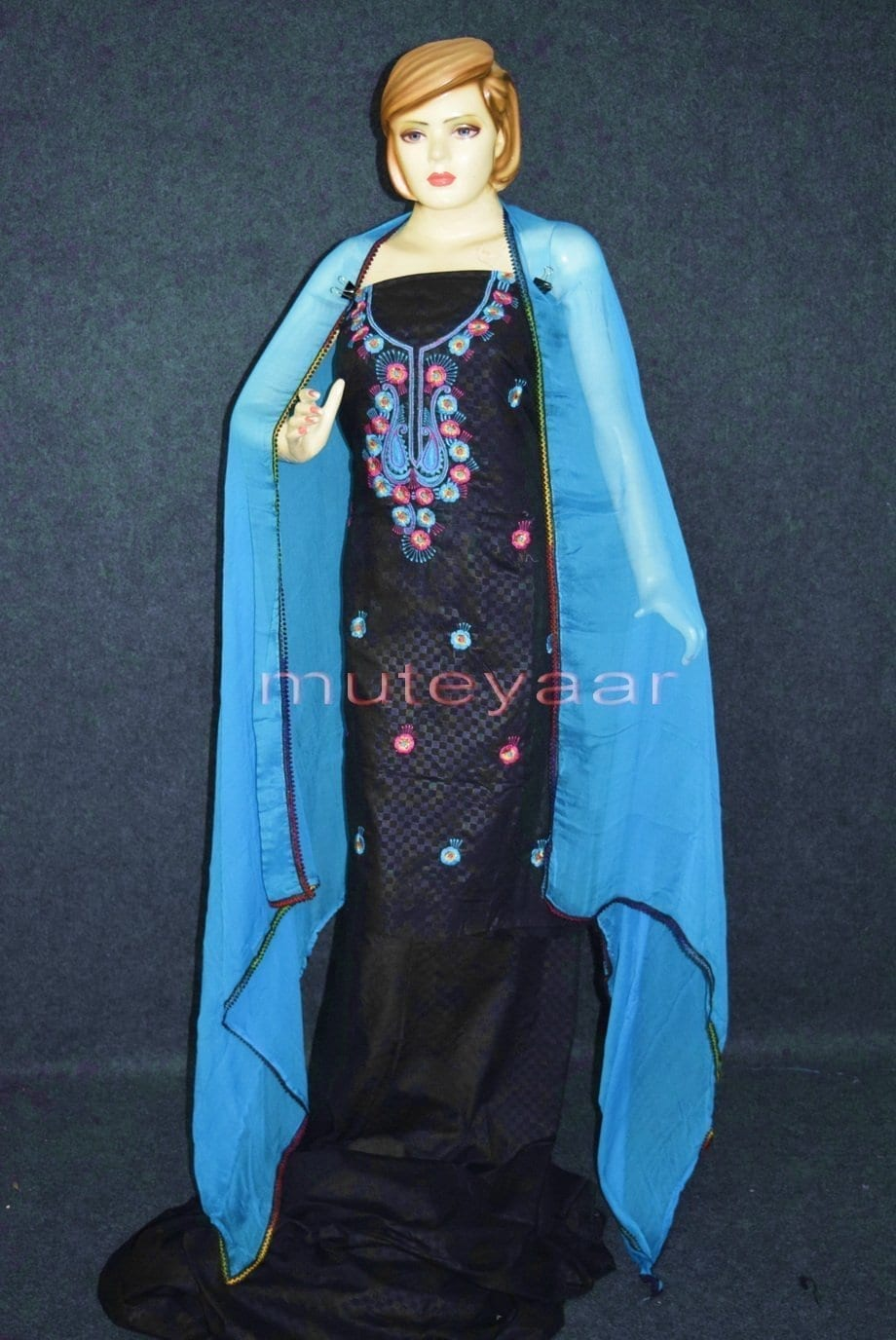 Designer Embroidery 100% cotton Salwar Suit PURE CHIFFON Dupatta RM310 1