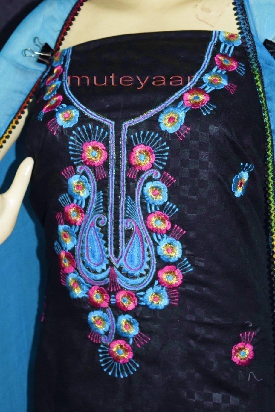 Designer Embroidery 100% cotton Salwar Suit PURE CHIFFON Dupatta RM310 2