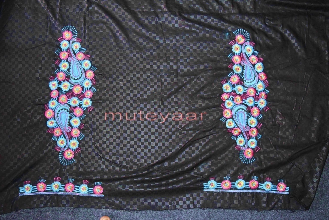 Designer Embroidery 100% cotton Salwar Suit PURE CHIFFON Dupatta RM310 3