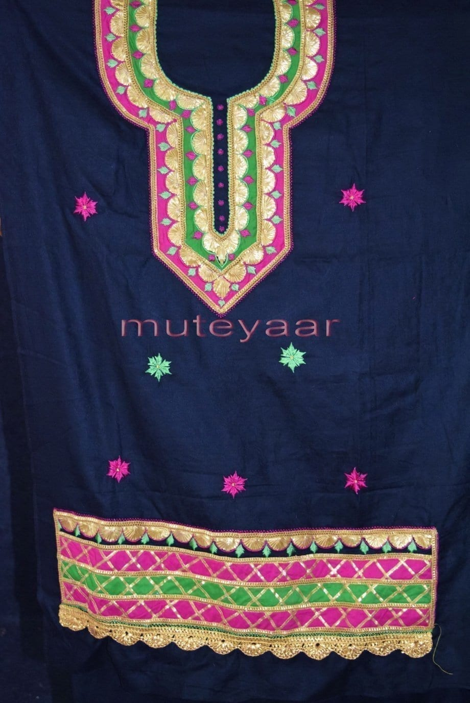 Designer Cotton Salwar Kameez Embroidered Boutique Suit CHIFFON Dupatta RM312 5