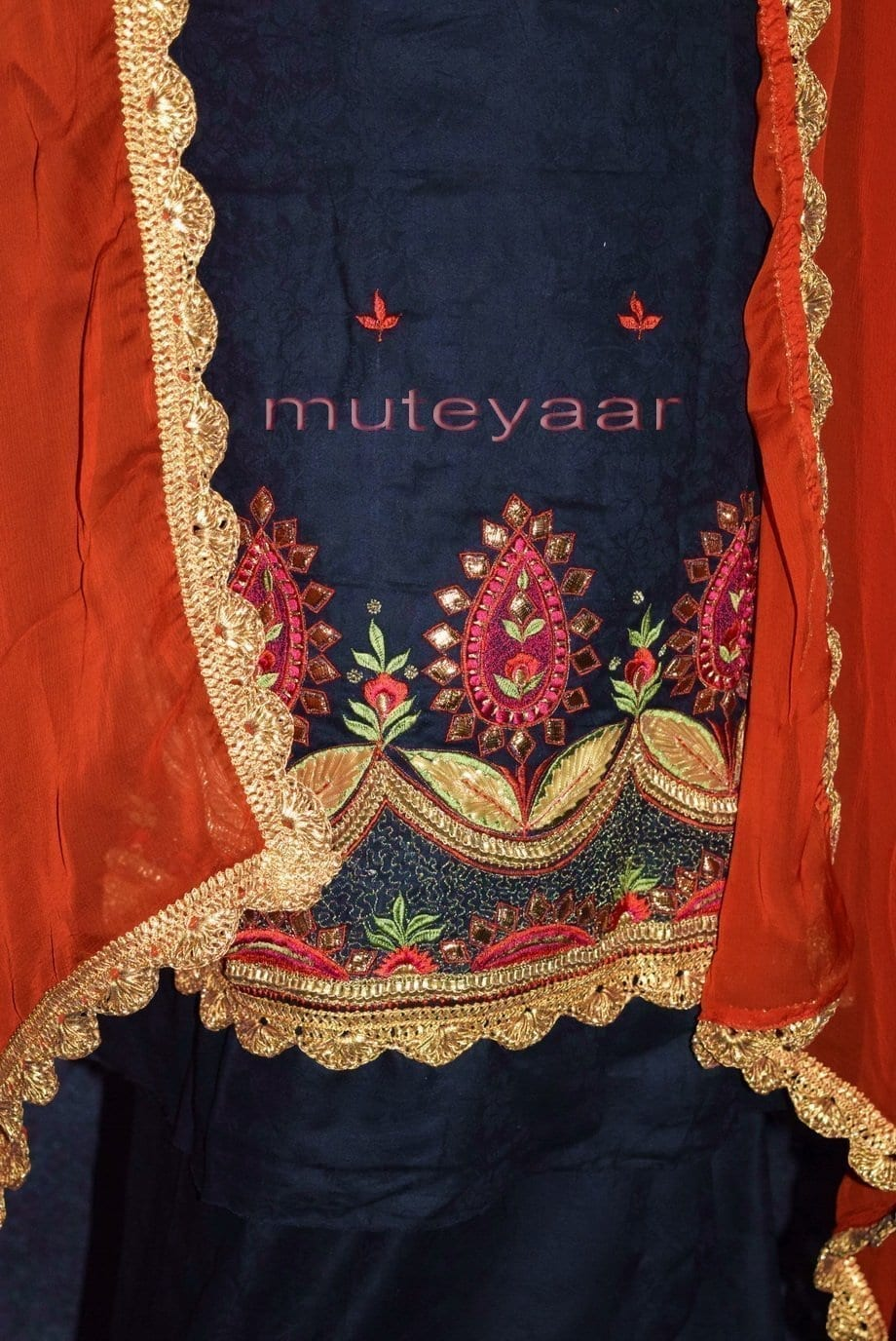 Designer Gota Patti Embroidery Boutique Suit Cotton Salwar Kameez CHIFFON Dupatta RM313 2