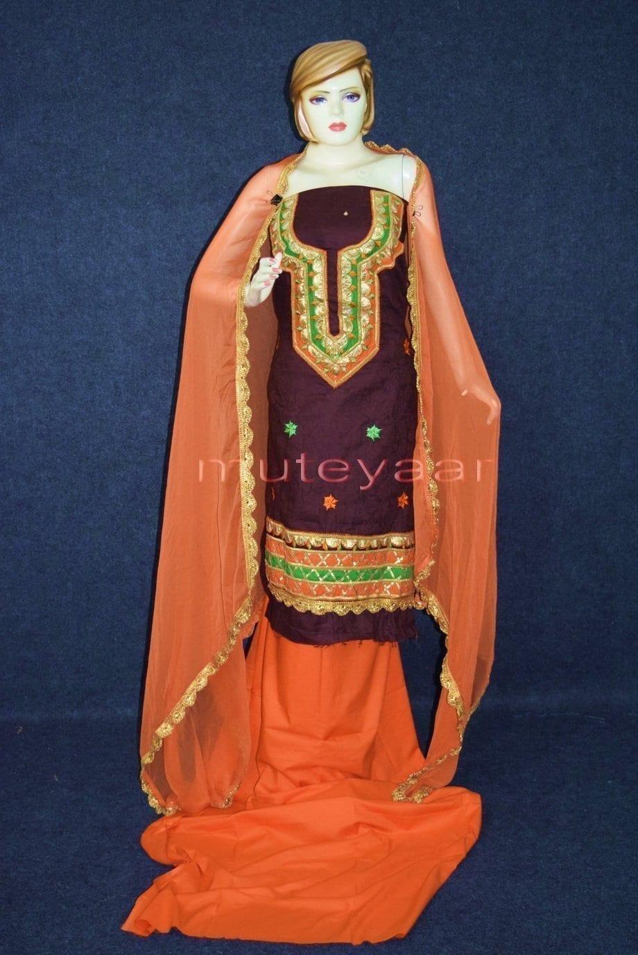Designer Embroidery 100% cotton Salwar Suit CHIFFON Dupatta RM314 1