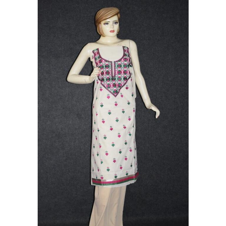 Cotton Embroidered Party Wear Unstitched Kurti / kameez Fabric Piece K0364