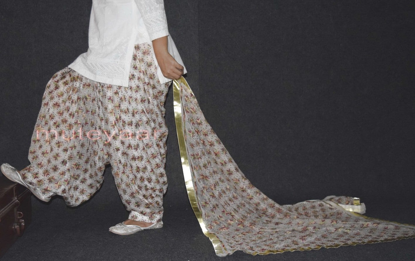 Custom Stitched PHULKARI Patiala Salwar with matching Dupatta PHS24 2