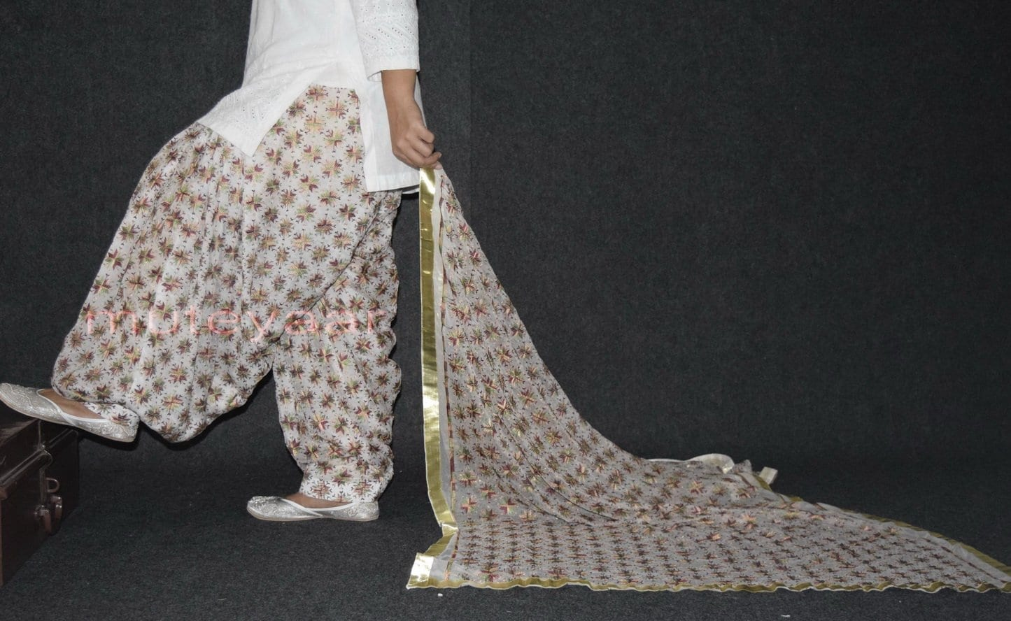 Custom Stitched PHULKARI Patiala Salwar with matching Dupatta PHS24 3