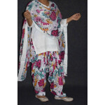 100% Pure Cotton Printed Patiala Salwar Dupatta with CHIKAN kurti complete suit PS026
