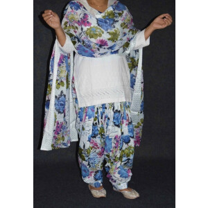 100% Pure Cotton Printed Patiala Salwar Dupatta with CHIKAN kurti complete suit PS027