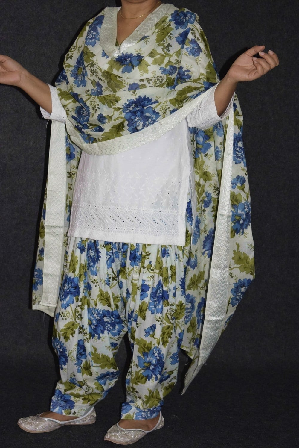 100% Pure Cotton Printed Patiala Salwar Dupatta with CHIKAN kurti complete suit PS030 2