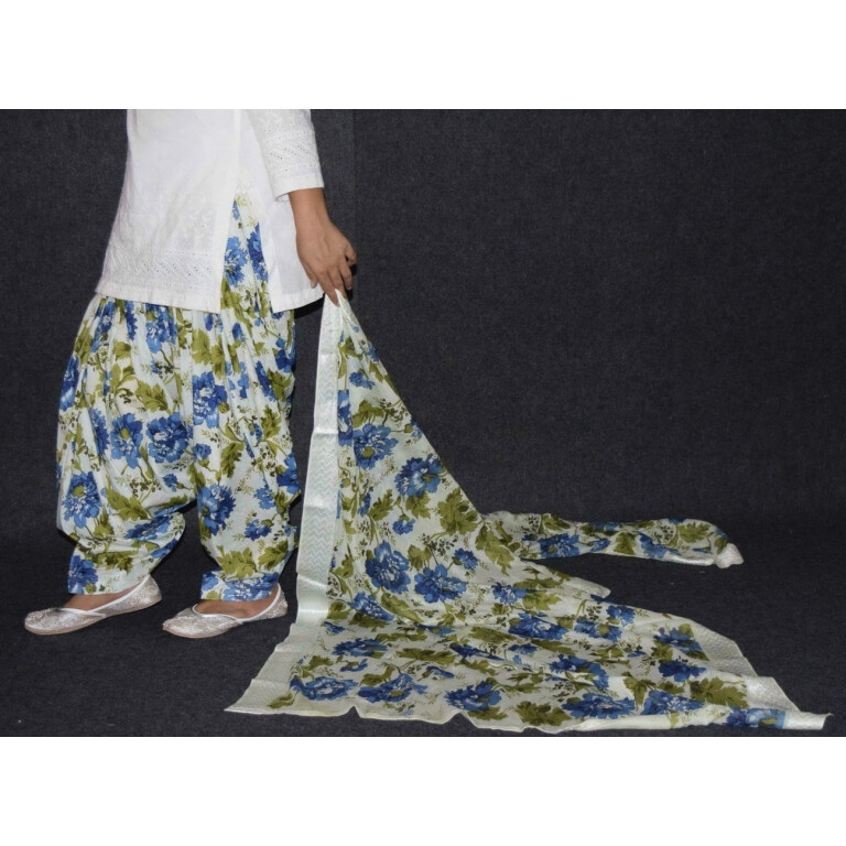100% Pure Cotton Printed Patiala Salwar Dupatta with CHIKAN kurti complete suit PS030