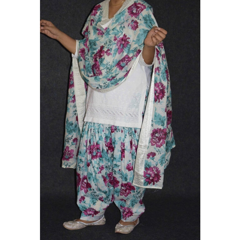 100% Pure Cotton Printed Patiala Salwar Dupatta with CHIKAN kurti complete suit PS031