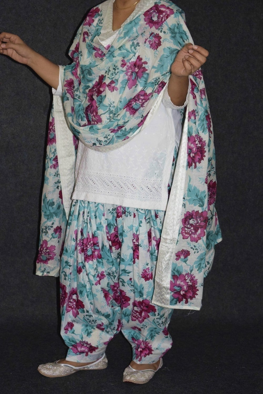 Pure Cotton Patiala Salwar Dupatta with White Chikan kurti complete suit PS031 2
