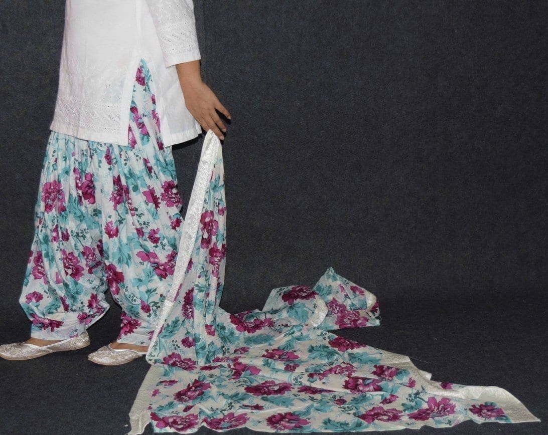 Pure Cotton Patiala Salwar Dupatta with White Chikan kurti complete suit PS031 3