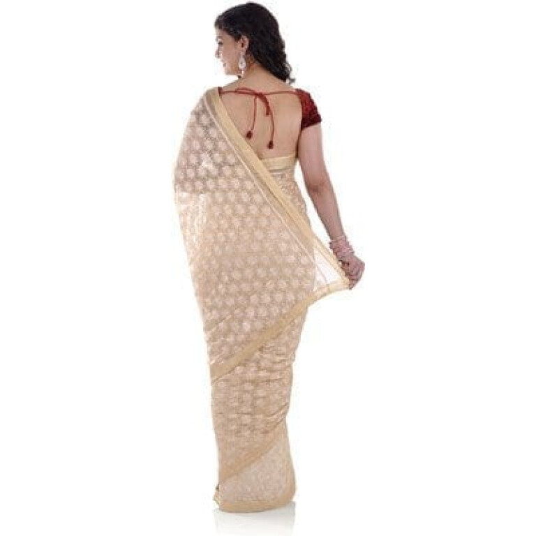 Fawn Phulkari Saree Allover Self Embroidered party wear Faux Chiffon S10
