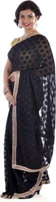 Black Phulkari Saree Allover Self Embroidered party wear Faux Chiffon Saari S11 2