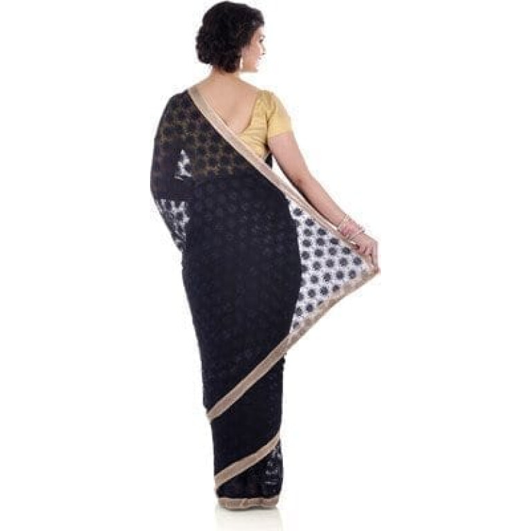 Black Phulkari Saree Allover Self Embroidered party wear Faux Chiffon Saari S11