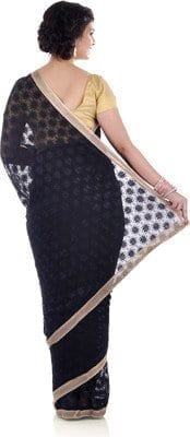 Black Phulkari Saree Allover Embroidered Faux Chiffon Saari S11 3