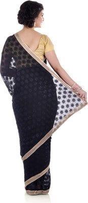 Black Phulkari Saree Allover Self Embroidered party wear Faux Chiffon Saari S11 3