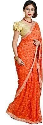 Orange Phulkari Saree Allover Self Embroidered party wear Faux Chiffon Saree S13 2