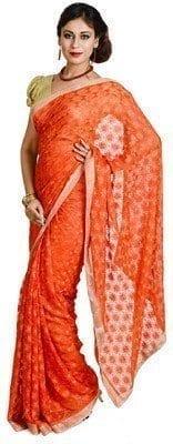 Orange Phulkari Saree Allover Self Embroidered party wear Faux Chiffon Saree S13 3