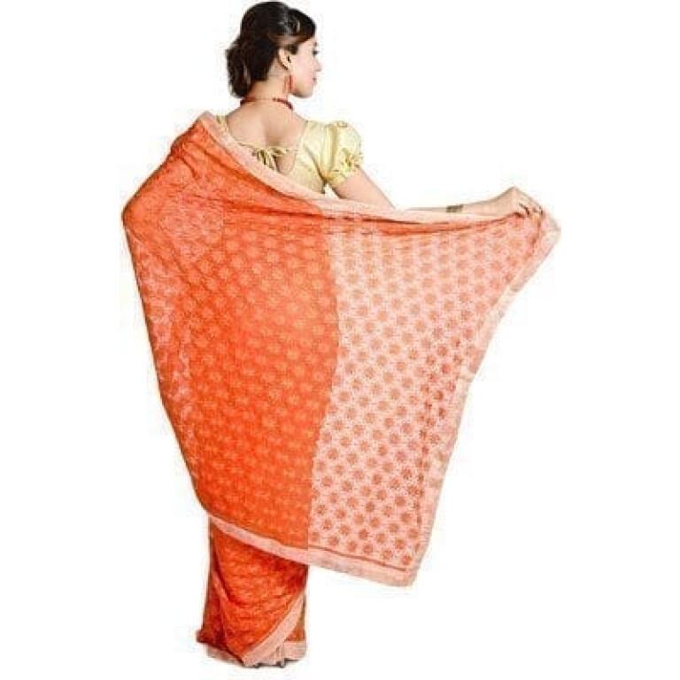 Orange Phulkari Saree Allover Self Embroidered party wear Faux Chiffon Saree S13