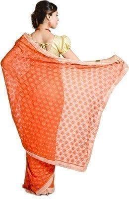 Orange Phulkari Saree Allover Self Embroidered party wear Faux Chiffon Saree S13 4