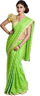 Parrot Green Phulkari Saree Embroidered Faux Chiffon Saari S3 2