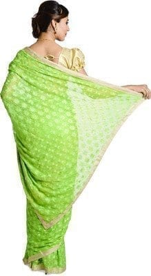 Parrot Green Phulkari Saree Embroidered Faux Chiffon Saari S3 3