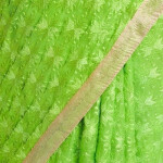 Parrot Green Phulkari Saree Embroidered Faux Chiffon Saari S3