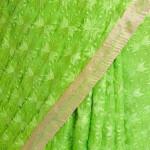 Parrot Green Phulkari Saree Embroidered Faux Chiffon Saari S3
