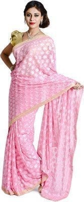 Pink Phulkari Saree Allover Self Embroidered party wear Faux Chiffon Sari S5 2