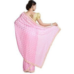 Pink Phulkari Saree Faux Chiffon Sari S5