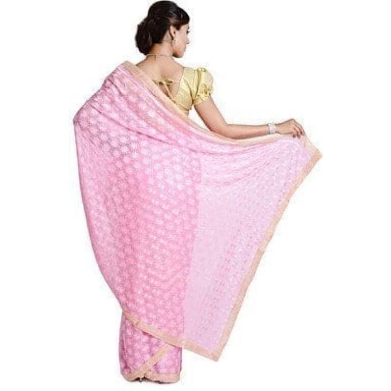 Pink Phulkari Saree Allover Self Embroidered party wear Faux Chiffon Sari S5