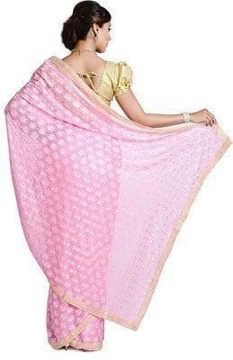 Pink Phulkari Saree Allover Self Embroidered party wear Faux Chiffon Sari S5 3