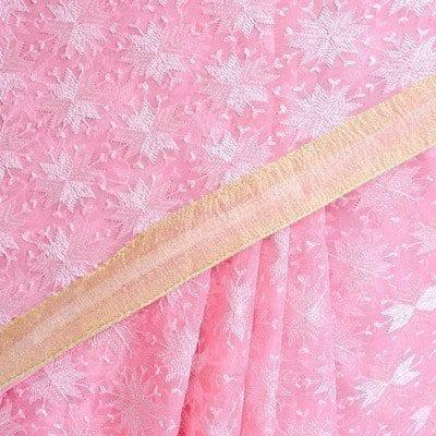 Pink Phulkari Saree Allover Self Embroidered party wear Faux Chiffon Sari S5 4